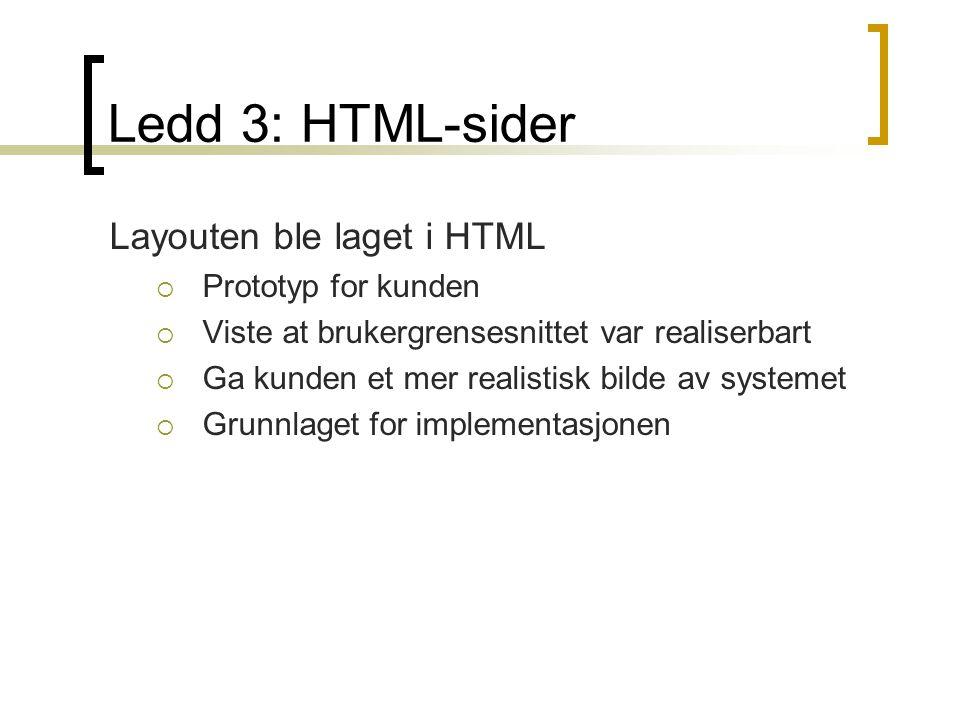 Ledd 3: HTML-sider Layouten ble laget i HTML  Prototyp for kunden  Viste at brukergrensesnittet var realiserbart  Ga kunden et mer realistisk bilde av systemet  Grunnlaget for implementasjonen
