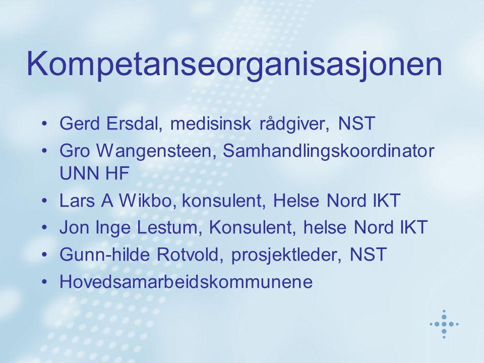 Kompetanseorganisasjonen Gerd Ersdal, medisinsk rådgiver, NST Gro Wangensteen, Samhandlingskoordinator UNN HF Lars A Wikbo, konsulent, Helse Nord IKT Jon Inge Lestum, Konsulent, helse Nord IKT Gunn-hilde Rotvold, prosjektleder, NST Hovedsamarbeidskommunene