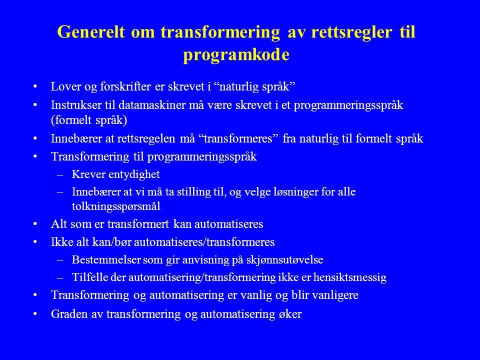Bruk av IKT i ulike beslutningsprosesser og arbeidsoppgaver i offentlig sektor (II) - Spesielt om representasjon av rettsregler i datamaskinprogrammer Disposisjon til Dag Wiese Schartums forelesning den 22.