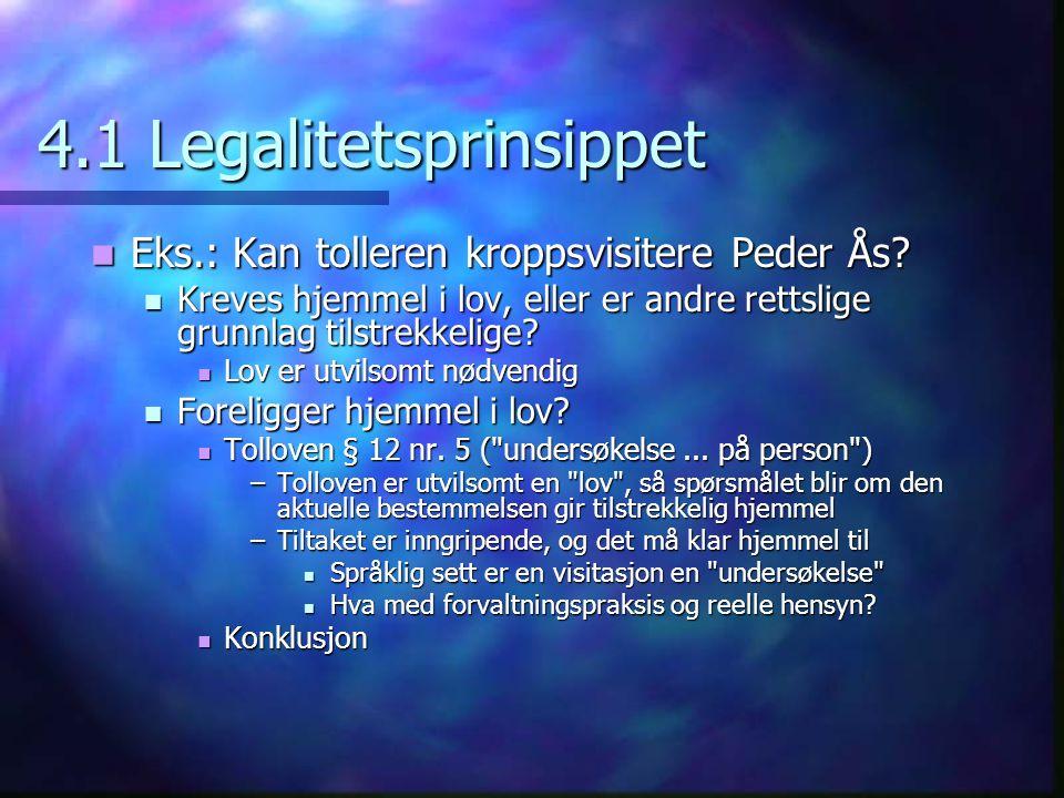 4.1 Legalitetsprinsippet Eks.: Kan tolleren kroppsvisitere Peder Ås? Eks.: Kan tolleren kroppsvisitere Peder Ås? Kreves hjemmel i lov, eller er andre