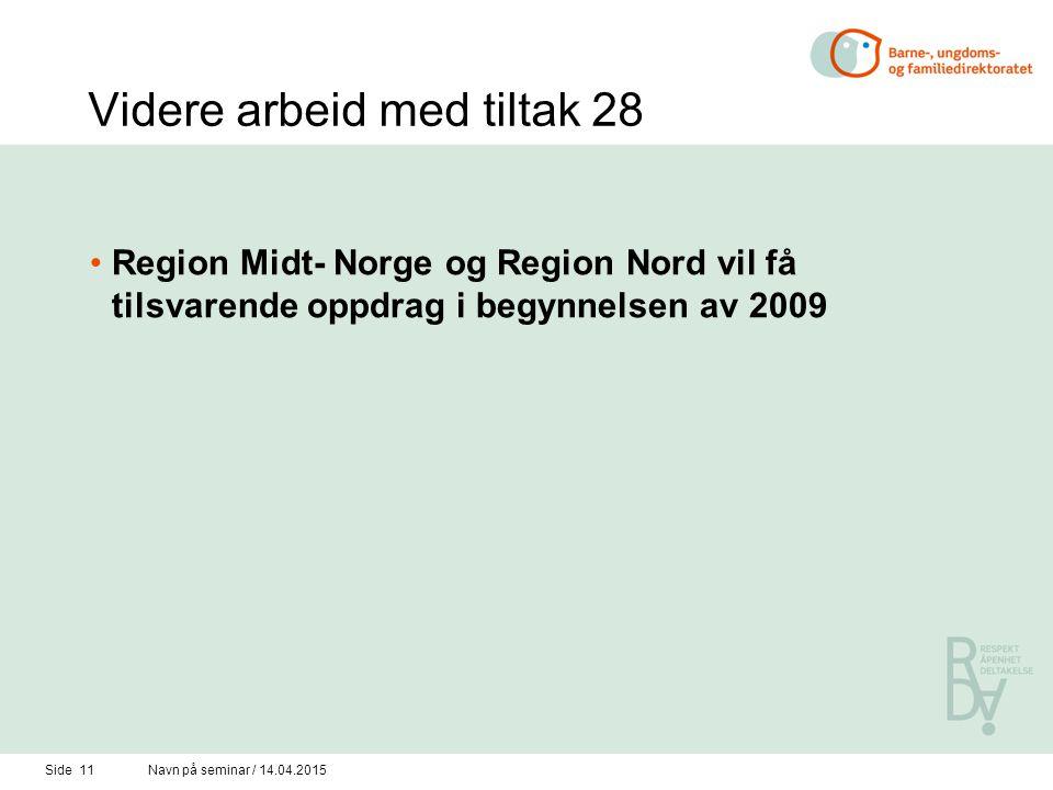 Side 11Navn på seminar / 14.04.2015 Videre arbeid med tiltak 28 Region Midt- Norge og Region Nord vil få tilsvarende oppdrag i begynnelsen av 2009
