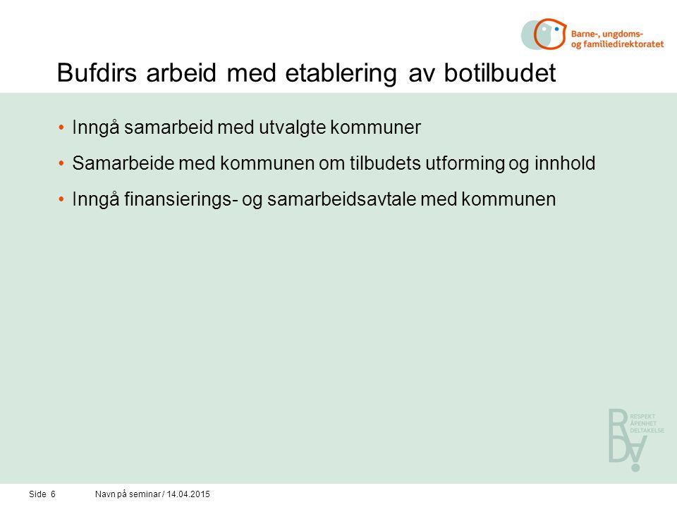Side 6Navn på seminar / 14.04.2015 Bufdirs arbeid med etablering av botilbudet Inngå samarbeid med utvalgte kommuner Samarbeide med kommunen om tilbud