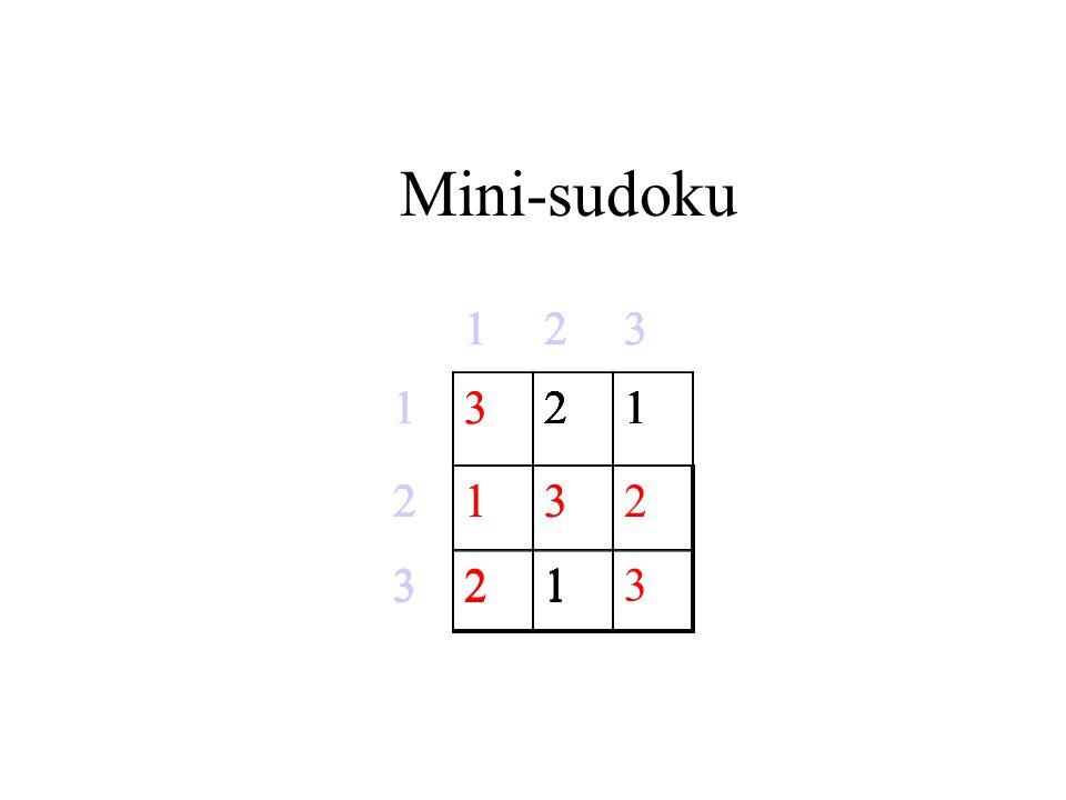 Mini-sudoku 123 121 2 31 123 1321 23 31 123 121 21 31 123 121 2 321 123 1321 2132 3213