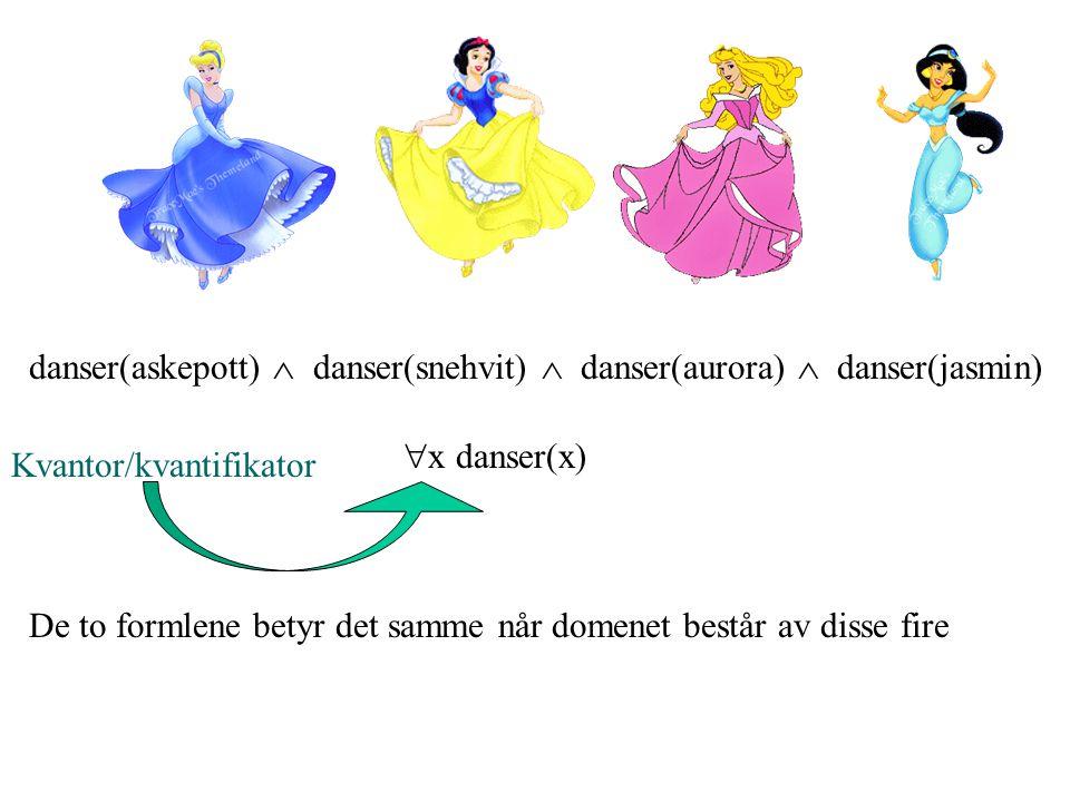 danser(askepott)  danser(snehvit)  danser(aurora)  danser(jasmin)  x danser(x) Kvantor/kvantifikator De to formlene betyr det samme når domenet består av disse fire