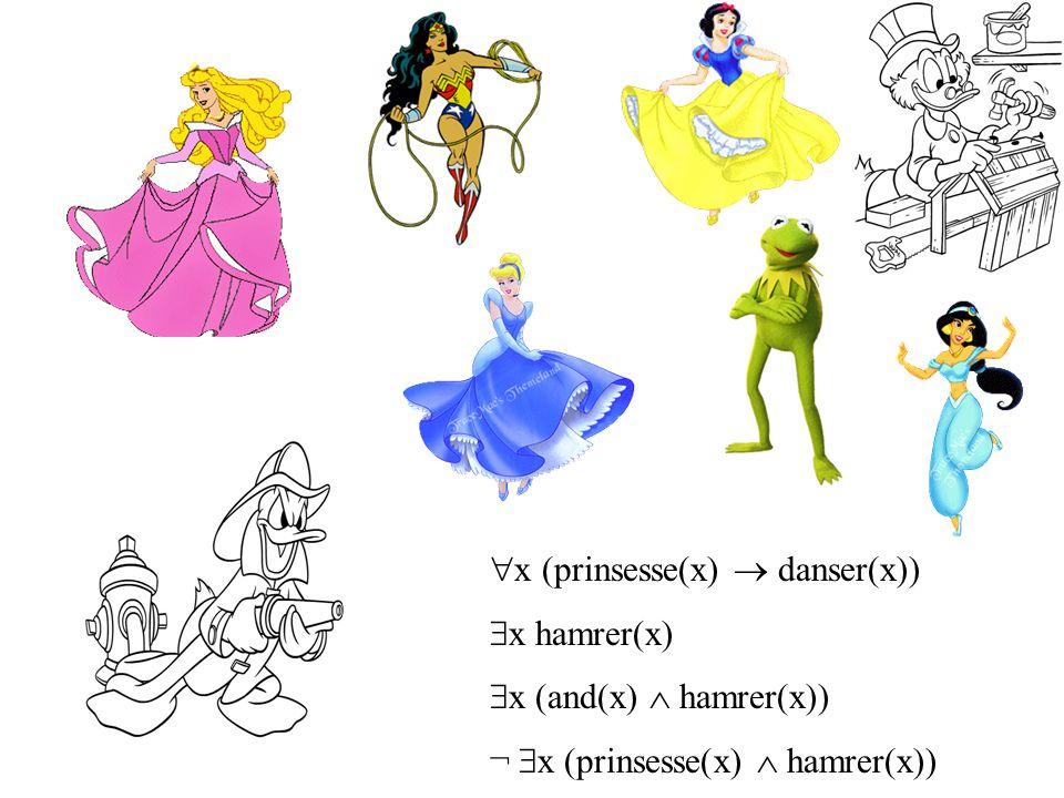  x (prinsesse(x)  danser(x))  x hamrer(x)  x (and(x)  hamrer(x)) ¬  x (prinsesse(x)  hamrer(x))