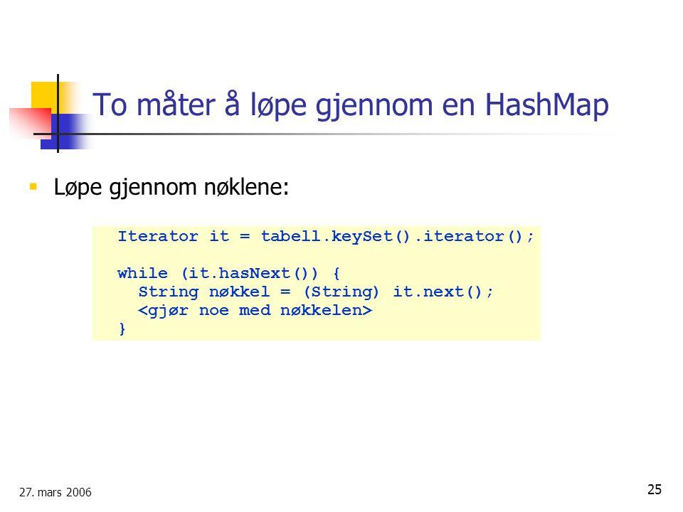 27. mars 2006 25 To måter å løpe gjennom en HashMap  Løpe gjennom nøklene: Iterator it = tabell.keySet().iterator(); while (it.hasNext()) { String nø