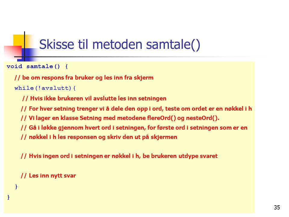 27. mars 2006 35 void samtale() { // be om respons fra bruker og les inn fra skjerm while(!avslutt){ // Hvis ikke brukeren vil avslutte les inn setnin