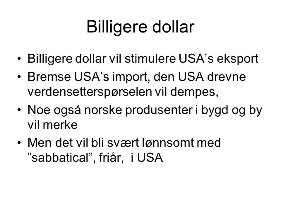 Billigere dollar Billigere dollar vil stimulere USA's eksport Bremse USA's import, den USA drevne verdensetterspørselen vil dempes, Noe også norske produsenter i bygd og by vil merke Men det vil bli svært lønnsomt med sabbatical , friår, i USA