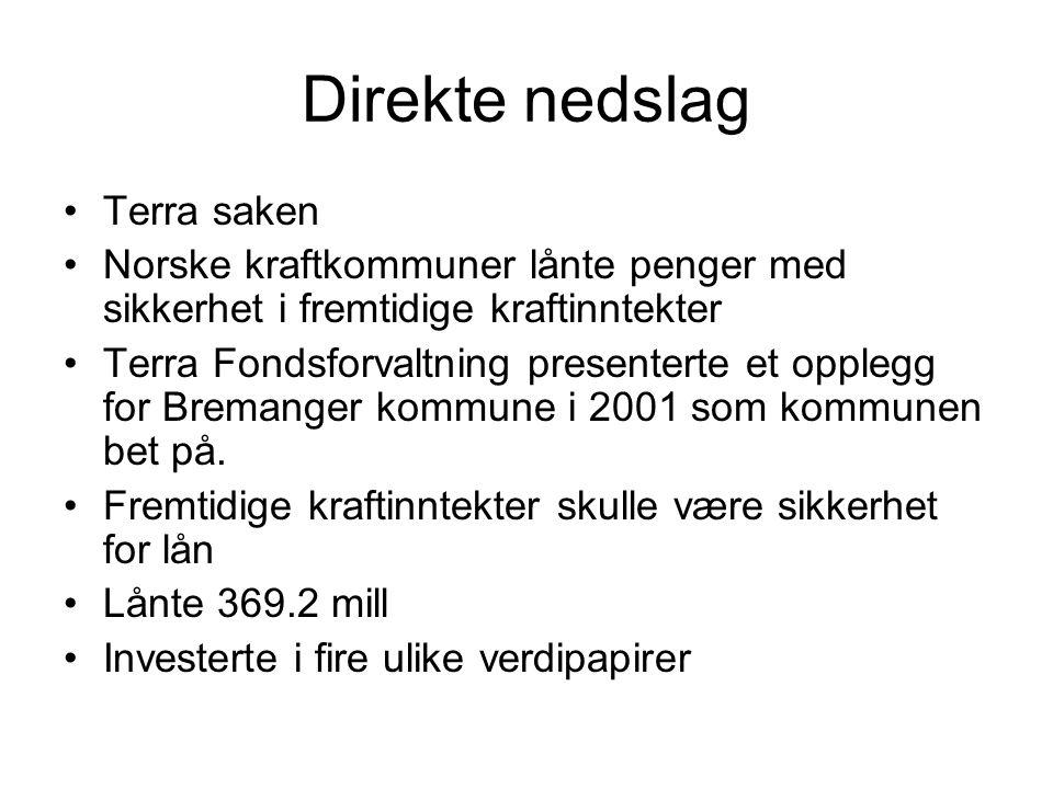 Direkte nedslag Terra saken Norske kraftkommuner lånte penger med sikkerhet i fremtidige kraftinntekter Terra Fondsforvaltning presenterte et opplegg for Bremanger kommune i 2001 som kommunen bet på.