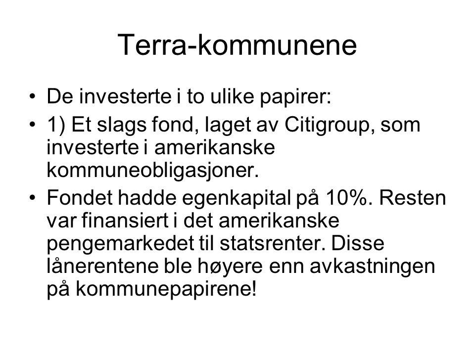 Terra-kommunene De investerte i to ulike papirer: 1) Et slags fond, laget av Citigroup, som investerte i amerikanske kommuneobligasjoner.