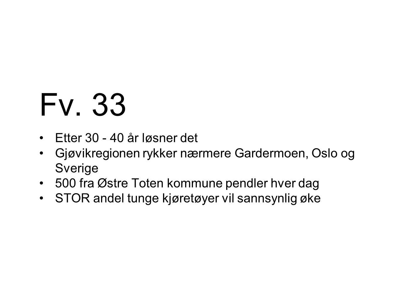Fv. 33 Etter 30 - 40 år løsner det Gjøvikregionen rykker nærmere Gardermoen, Oslo og Sverige 500 fra Østre Toten kommune pendler hver dag STOR andel t