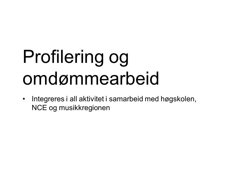 Profilering og omdømmearbeid Integreres i all aktivitet i samarbeid med høgskolen, NCE og musikkregionen