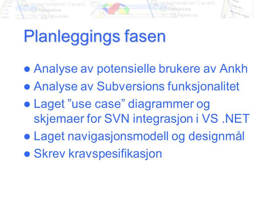 Planleggings fasen Analyse av potensielle brukere av Ankh Analyse av Subversions funksjonalitet Laget use case diagrammer og skjemaer for SVN integrasjon i VS.NET Laget navigasjonsmodell og designmål Skrev kravspesifikasjon