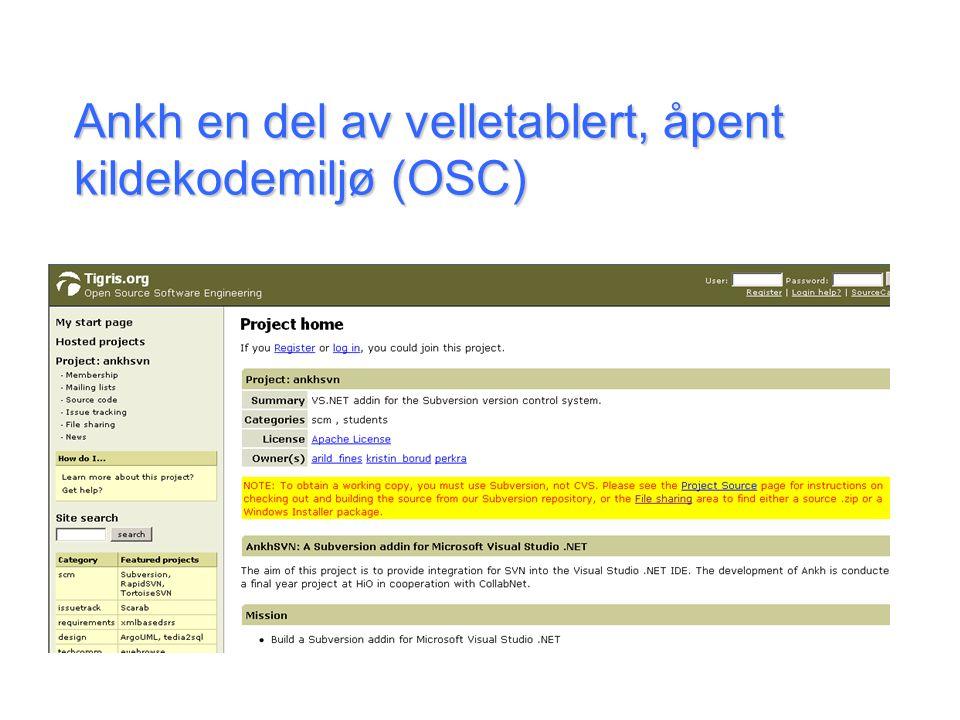 Ankh en del av velletablert, åpent kildekodemiljø (OSC)