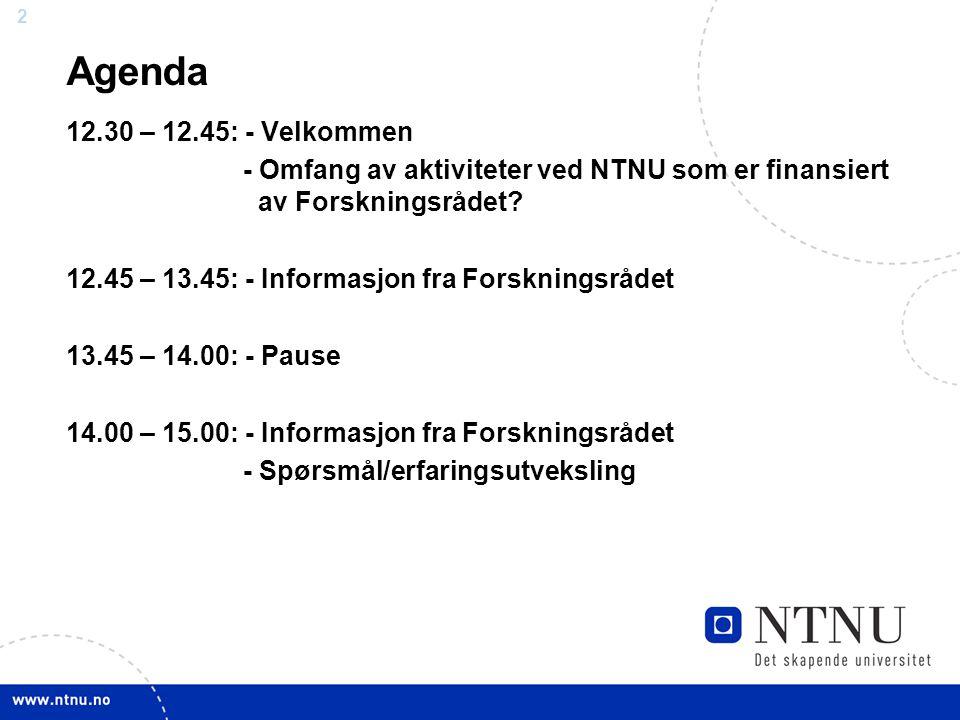 22 Agenda 12.30 – 12.45: - Velkommen - Omfang av aktiviteter ved NTNU som er finansiert av Forskningsrådet.