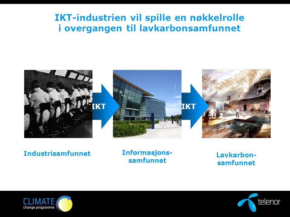 IKT IKT-industrien vil spille en nøkkelrolle i overgangen til lavkarbonsamfunnet Industrisamfunnet Informasjons- samfunnet Lavkarbon- samfunnet