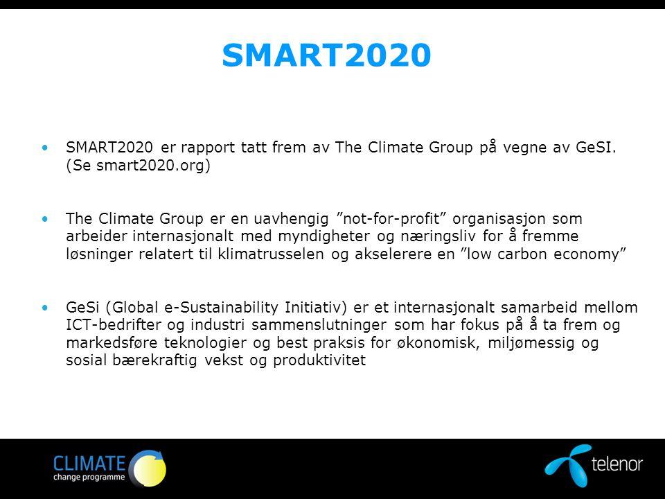 """SMART2020 SMART2020 er rapport tatt frem av The Climate Group på vegne av GeSI. (Se smart2020.org) The Climate Group er en uavhengig """"not-for-profit"""""""