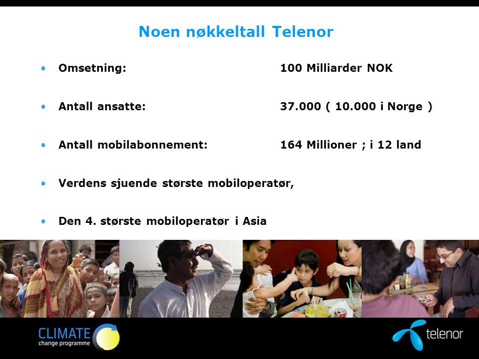 Noen nøkkeltall Telenor Omsetning:100 Milliarder NOK Antall ansatte:37.000 ( 10.000 i Norge ) Antall mobilabonnement: 164 Millioner ; i 12 land Verdens sjuende største mobiloperatør, Den 4.