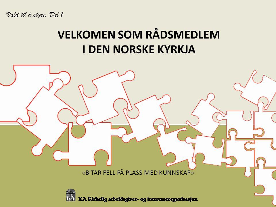 «BITAR FELL PÅ PLASS MED KUNNSKAP» VELKOMEN SOM RÅDSMEDLEM I DEN NORSKE KYRKJA Vald til å styre, Del 1