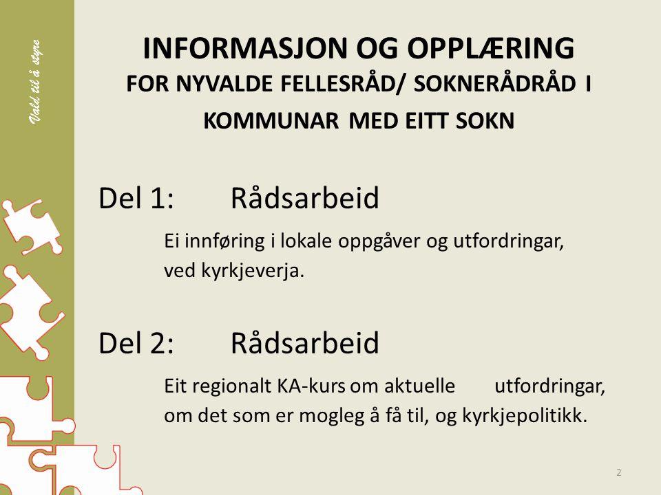 UTFORDRINGAR – Rådet vil bli utfordra til å tenke langsiktig om Den norske kyrkja – Rådet vil bli høyringsinstans ved framlegg til framtidig kyrkjeordning – Rådet vil bli utfordra på bruk av ressursar 23 Vald til å styre