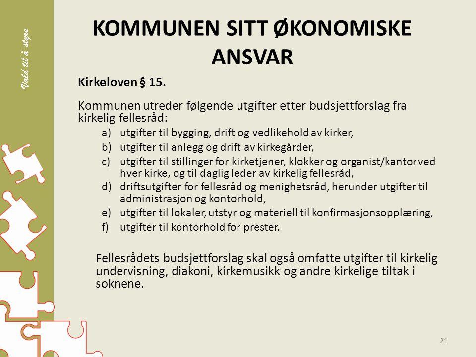 KOMMUNEN SITT ØKONOMISKE ANSVAR Kirkeloven § 15.