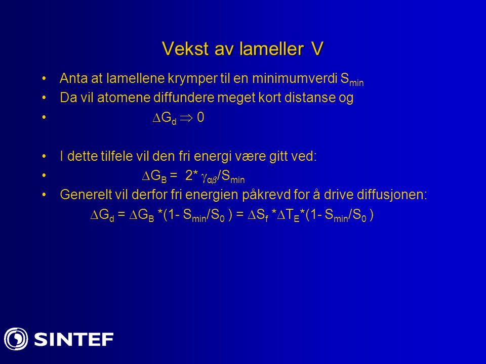 Vekst av lameller V Anta at lamellene krymper til en minimumverdi S min Da vil atomene diffundere meget kort distanse og  G d  0 I dette tilfele vil den fri energi være gitt ved:  G B = 2*  α  /S min Generelt vil derfor fri energien påkrevd for å drive diffusjonen:  G d =  G B *(1- S min /S 0 ) =  S f *  T E *(1- S min /S 0 )
