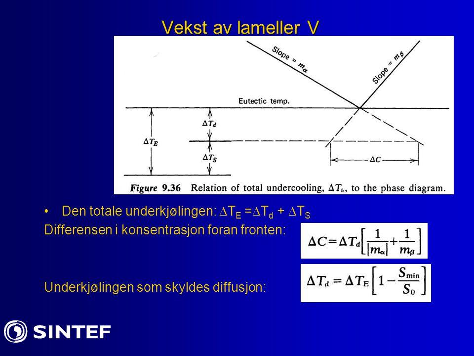 Vekst av lameller V Den totale underkjølingen:  T E =  T d +  T S Differensen i konsentrasjon foran fronten: Underkjølingen som skyldes diffusjon: