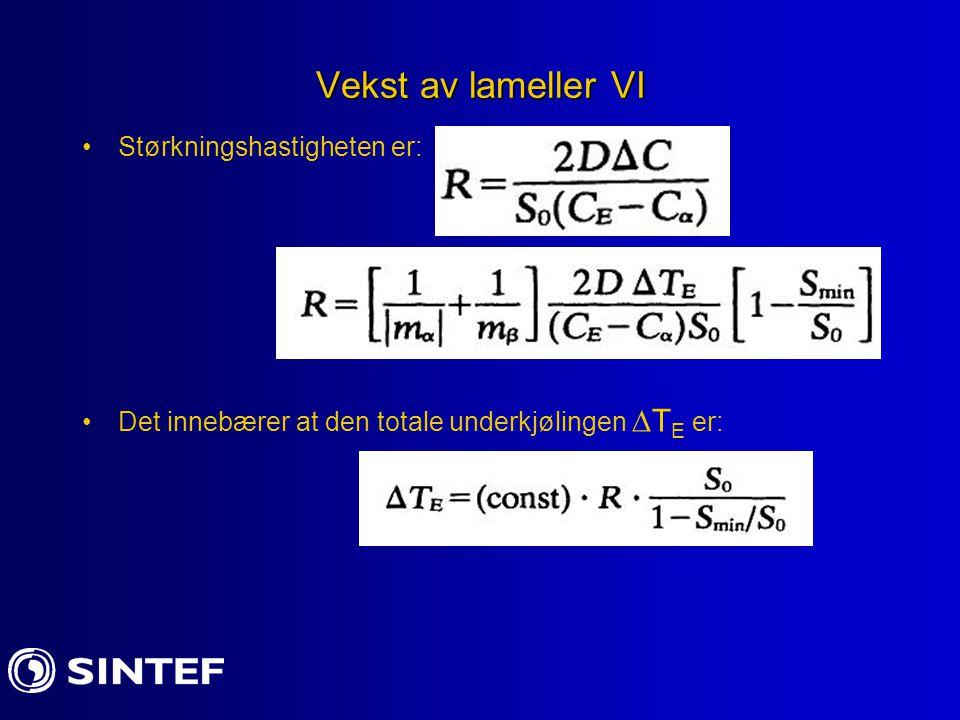 Vekst av lameller VI Størkningshastigheten er: Det innebærer at den totale underkjølingen  T E er: