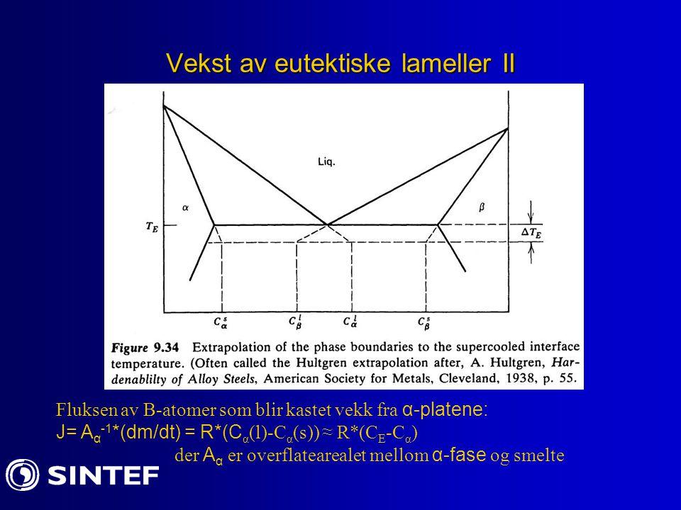 Vekst av eutektiske lameller III Den laterale diffusjonen i Y-retning er omtrent lik: J(diff) = D*  C/(S 0 /2) Ved steadt state er J(frastøtt)=J(diff)  R (hastighet til størkningsfront:  C=midlere differens i sammensetning til smelten foran α- og  -plater