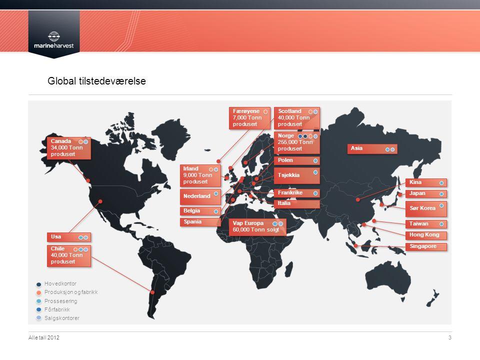 Global tilstedeværelse 3 Norge 255,000 Tonn produsert Scotland 40,000 Tonn produsert Polen Tsjekkia Frankrike Italia Færøyene 7,000 Tonn produsert Irl