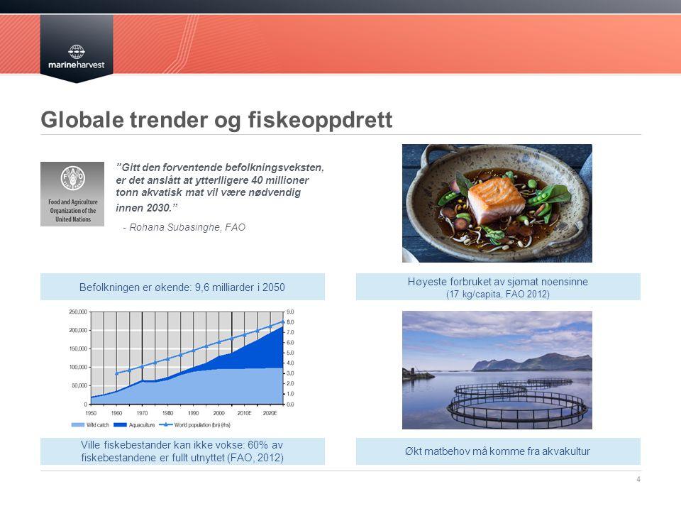 Globale trender og fiskeoppdrett Gitt den forventende befolkningsveksten, er det anslått at ytterlligere 40 millioner tonn akvatisk mat vil være nødvendig innen 2030. - Rohana Subasinghe, FAO 4 Befolkningen er økende: 9,6 milliarder i 2050 Høyeste forbruket av sjømat noensinne (17 kg/capita, FAO 2012) Økt matbehov må komme fra akvakultur Ville fiskebestander kan ikke vokse: 60% av fiskebestandene er fullt utnyttet (FAO, 2012)