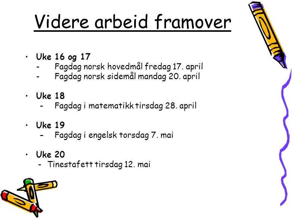 Videre arbeid framover Uke 16 og 17 -Fagdag norsk hovedmål fredag 17. april -Fagdag norsk sidemål mandag 20. april Uke18 - Fagdag i matematikk tirsdag