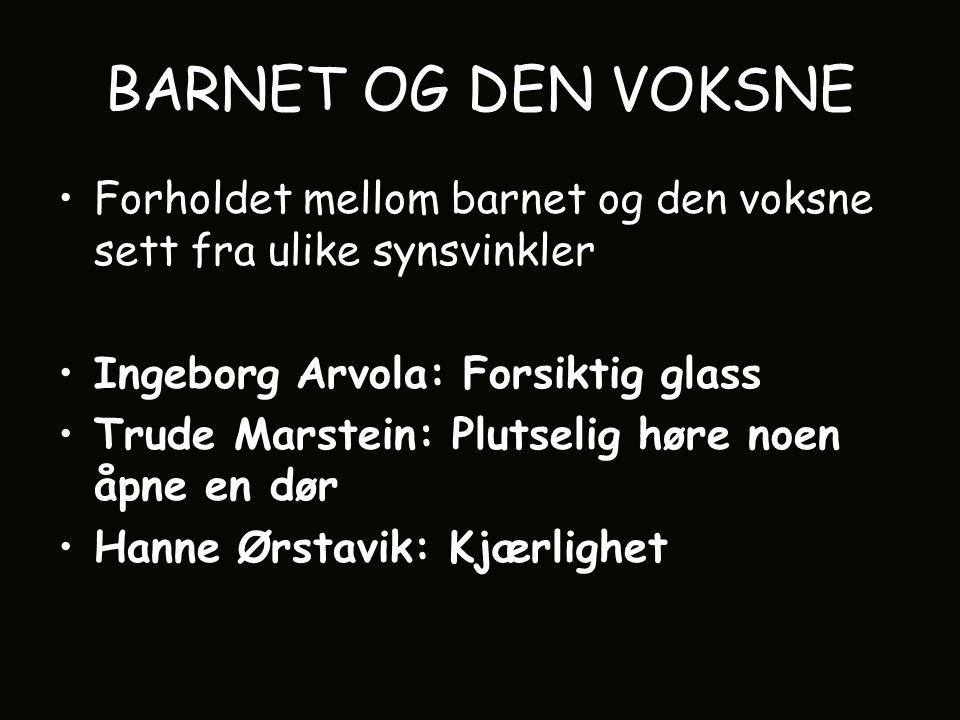 BARNET OG DEN VOKSNE Forholdet mellom barnet og den voksne sett fra ulike synsvinkler Ingeborg Arvola: Forsiktig glass Trude Marstein: Plutselig høre