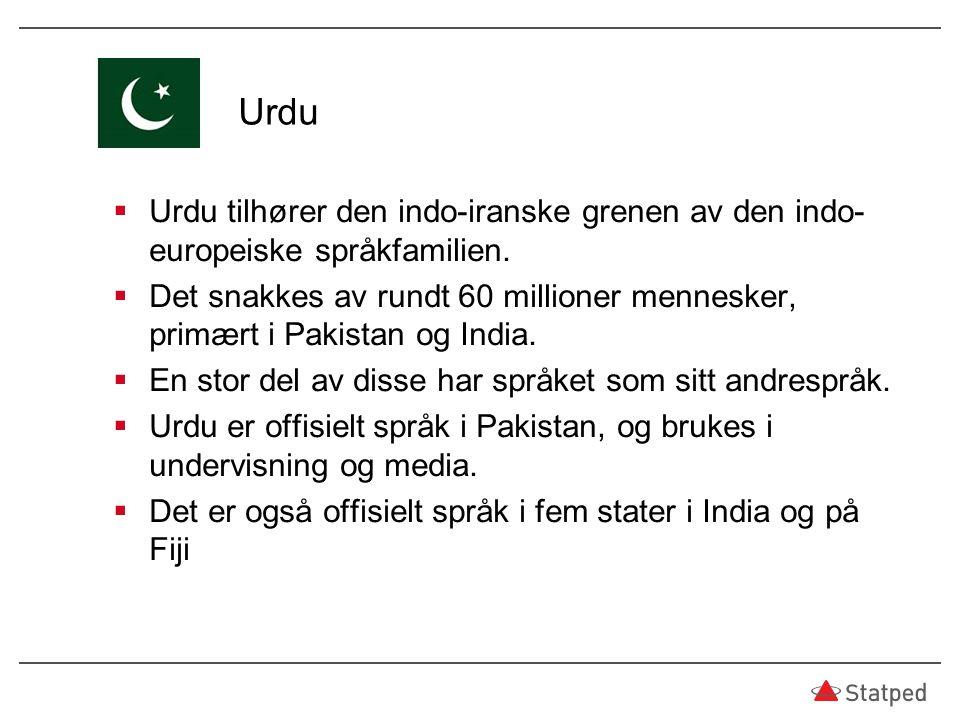 Urdu  Urdu tilhører den indo-iranske grenen av den indo- europeiske språkfamilien.  Det snakkes av rundt 60 millioner mennesker, primært i Pakistan
