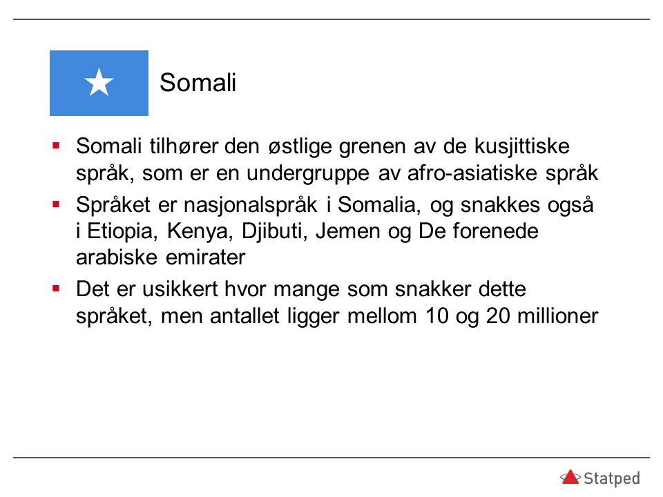 Somali  Somali tilhører den østlige grenen av de kusjittiske språk, som er en undergruppe av afro-asiatiske språk  Språket er nasjonalspråk i Somali