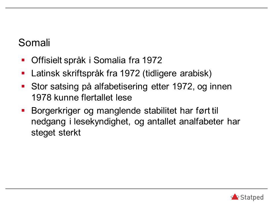 Somali  Offisielt språk i Somalia fra 1972  Latinsk skriftspråk fra 1972 (tidligere arabisk)  Stor satsing på alfabetisering etter 1972, og innen 1