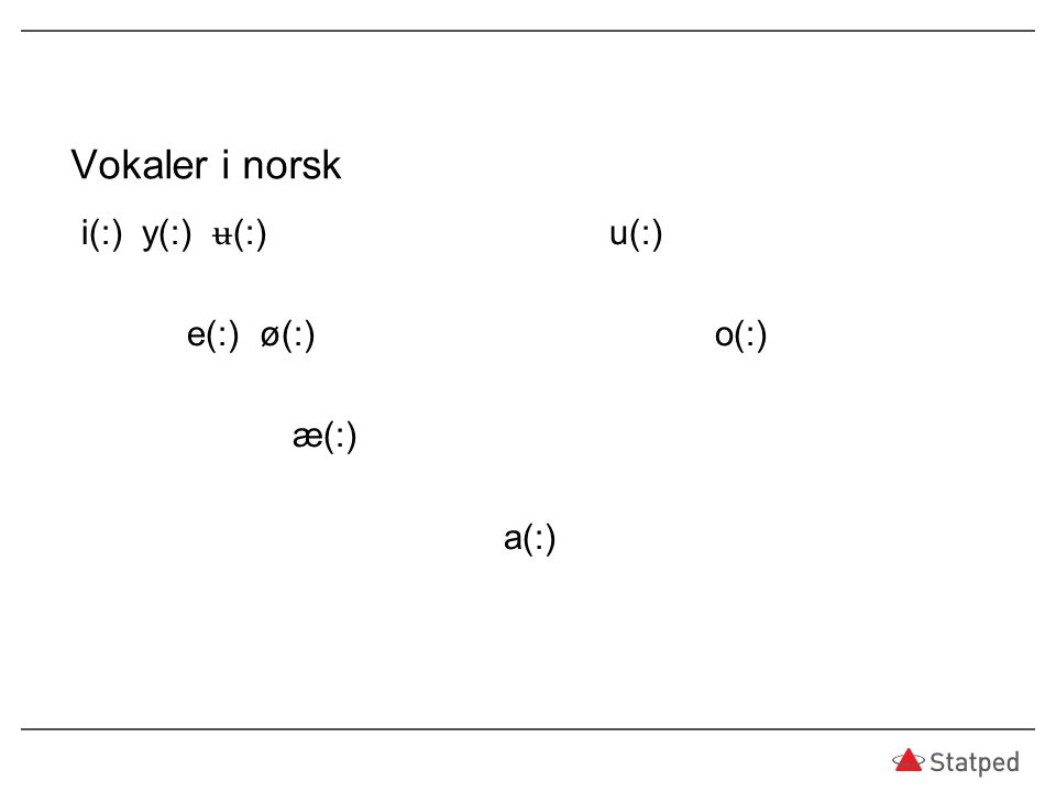 Vokaler i norsk i(:) y(:) ʉ (:)u(:) e(:) ø(:)o(:) æ(:) a(:)
