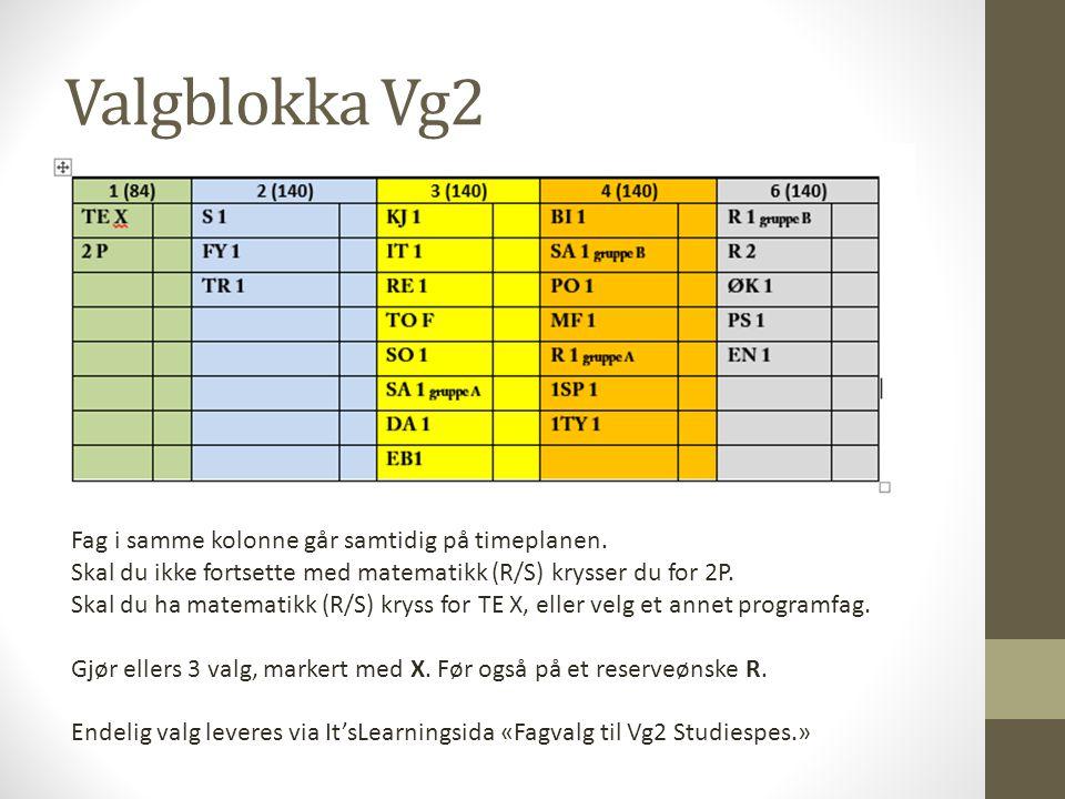 Valgblokka Vg2 Fag i samme kolonne går samtidig på timeplanen.