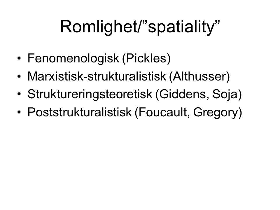 Romlighet/ spatiality Fenomenologisk (Pickles) Marxistisk-strukturalistisk (Althusser) Struktureringsteoretisk (Giddens, Soja) Poststrukturalistisk (Foucault, Gregory)
