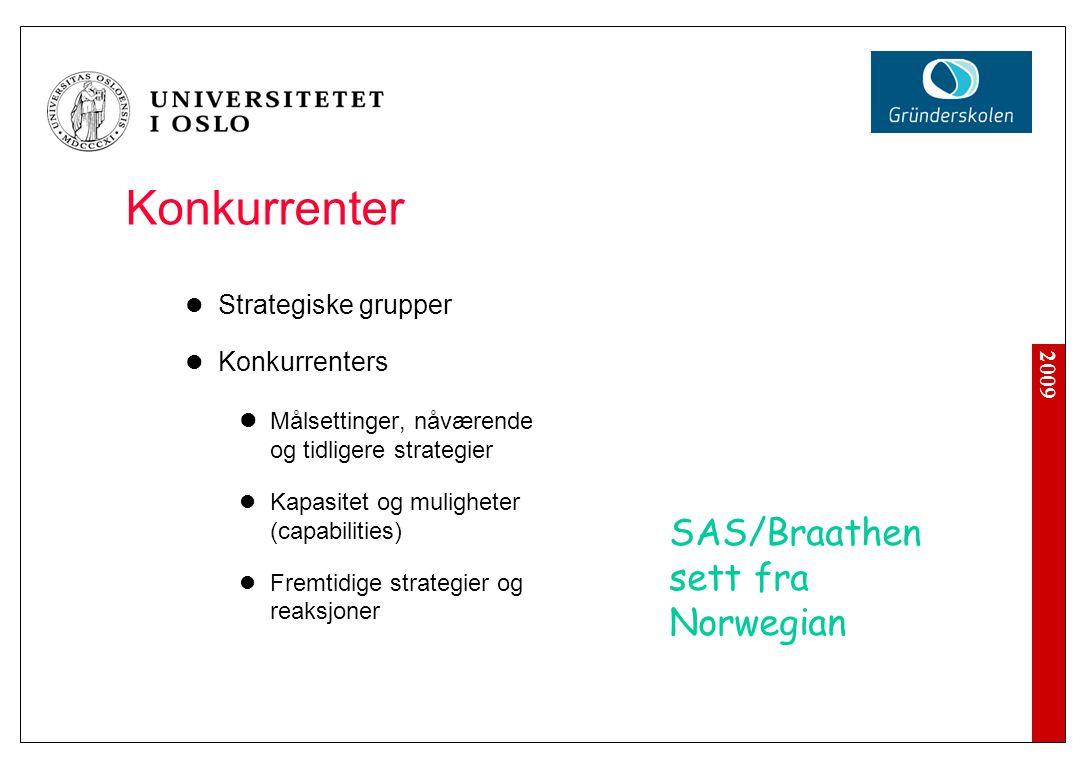 2009 Konkurrenter Strategiske grupper Konkurrenters Målsettinger, nåværende og tidligere strategier Kapasitet og muligheter (capabilities) Fremtidige