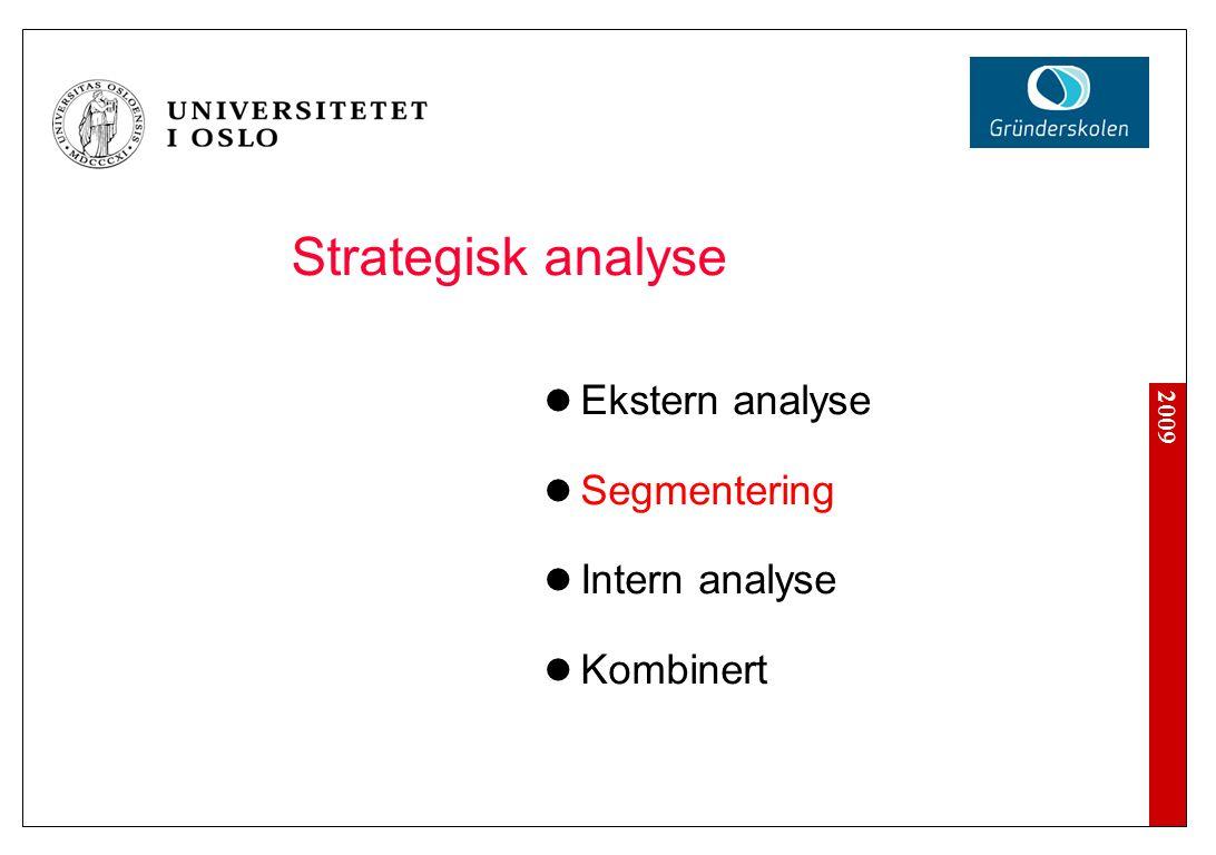 2009 Strategisk analyse Ekstern analyse Segmentering Intern analyse Kombinert