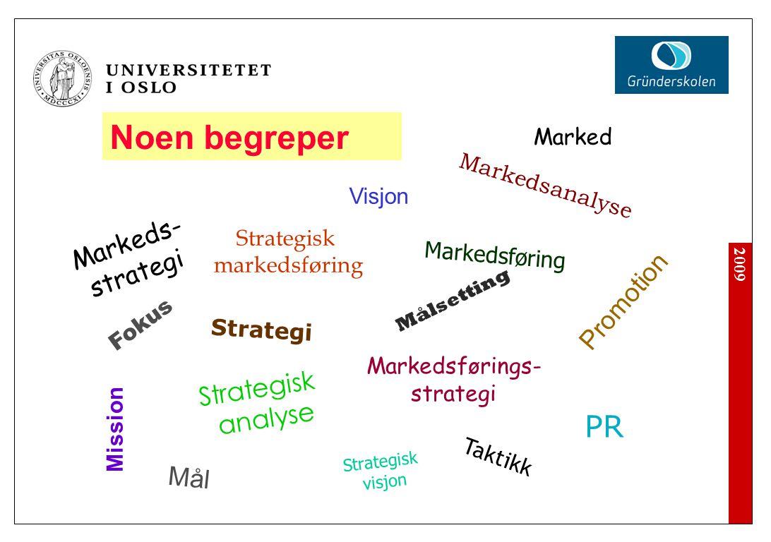 2009 Noen begreper Strategi Markeds- strategi Promotion PR Strategisk markedsføring Markedsførings- strategi Mission Taktikk Strategisk analyse Marked