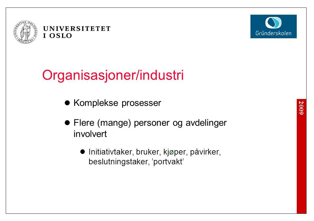 2009 Organisasjoner/industri Komplekse prosesser Flere (mange) personer og avdelinger involvert Initiativtaker, bruker, kjøper, påvirker, beslutningst