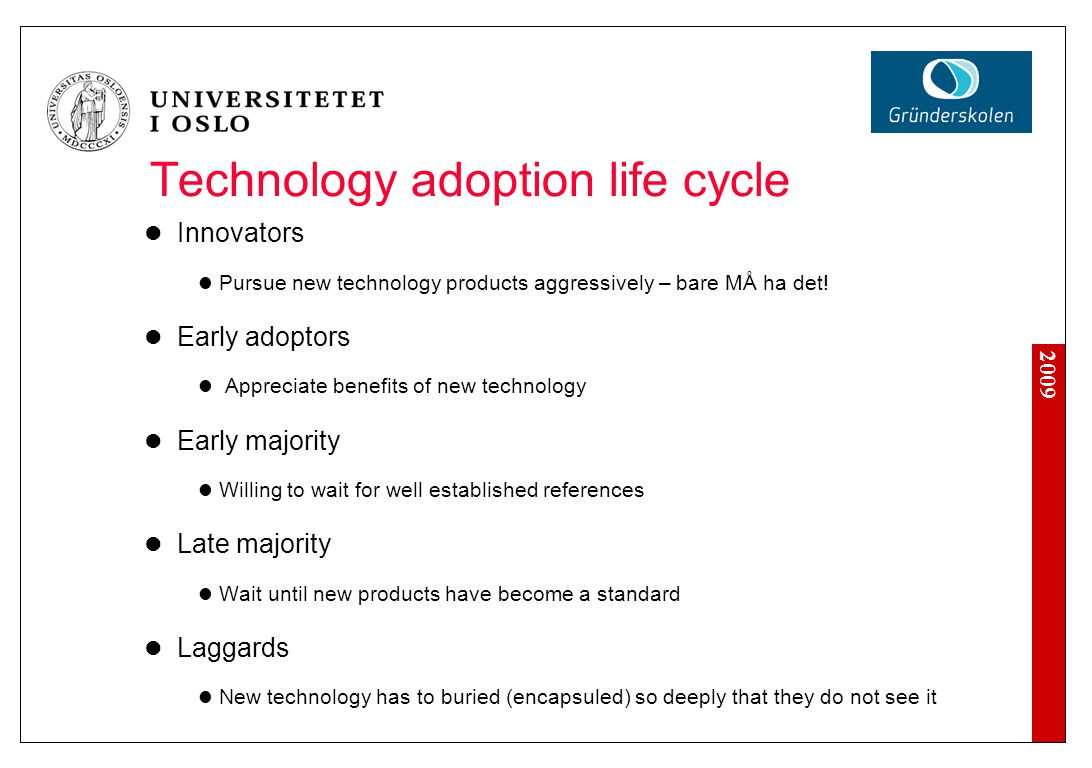 2009 Technology adoption life cycle Innovators Pursue new technology products aggressively – bare MÅ ha det.