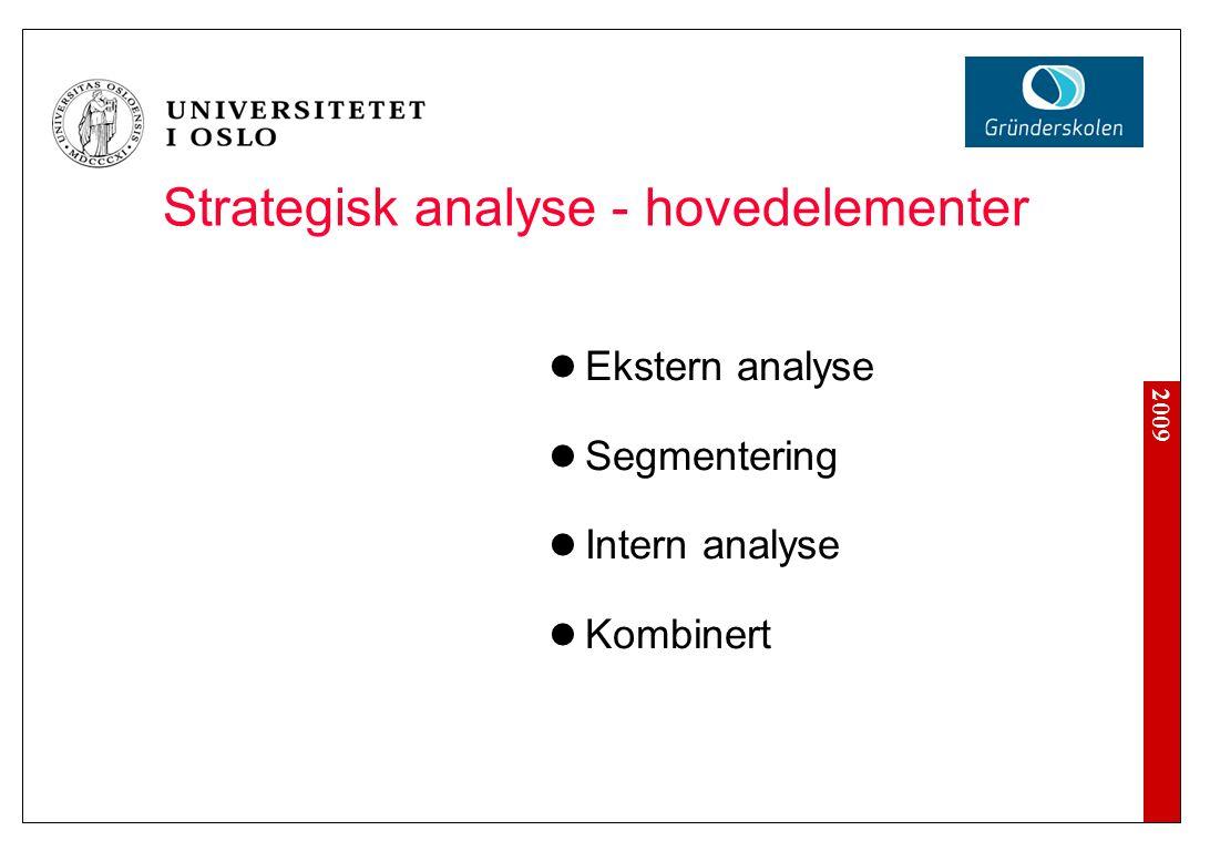 2009 Generiske strategier og konkurransefortrinn Kostnader Differensiering Fokus Stuck in the middle