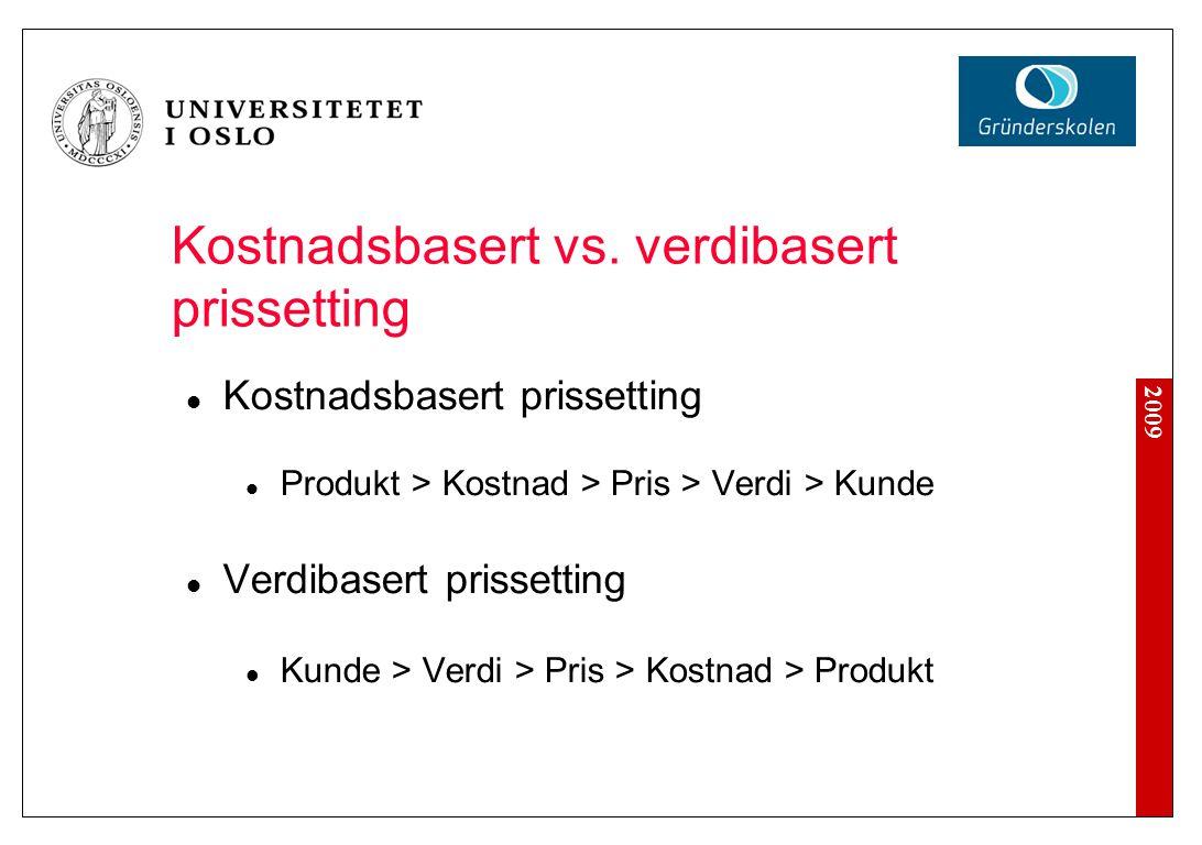 2009 Kostnadsbasert vs. verdibasert prissetting Kostnadsbasert prissetting Produkt > Kostnad > Pris > Verdi > Kunde Verdibasert prissetting Kunde > Ve