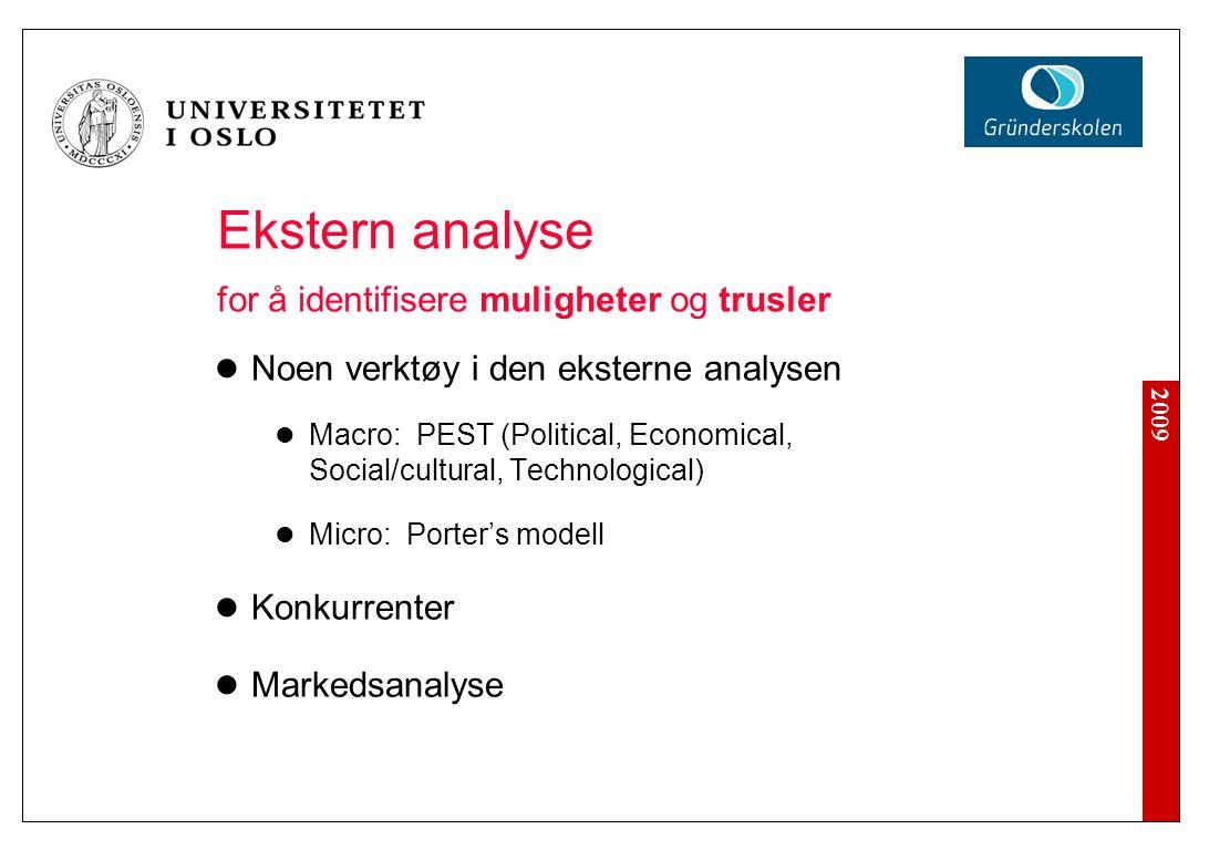 2009 Ekstern analyse for å identifisere muligheter og trusler Noen verktøy i den eksterne analysen Macro: PEST (Political, Economical, Social/cultural