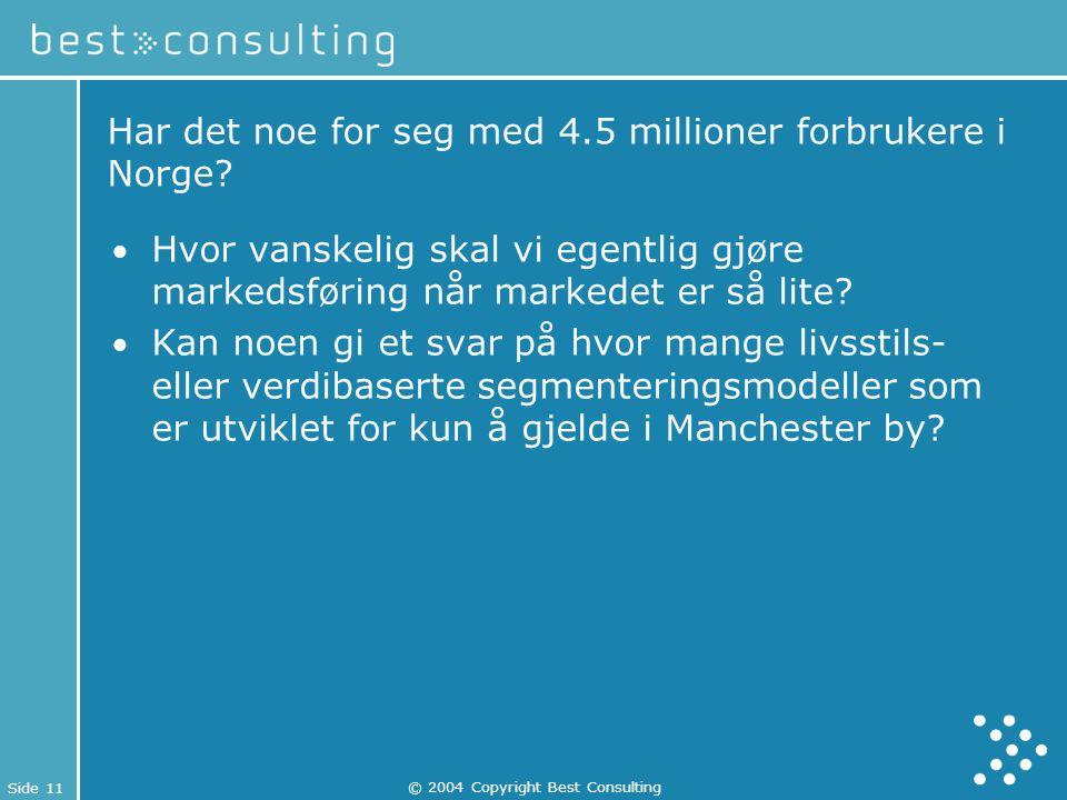 Side 11 © 2004 Copyright Best Consulting Har det noe for seg med 4.5 millioner forbrukere i Norge? Hvor vanskelig skal vi egentlig gjøre markedsføring