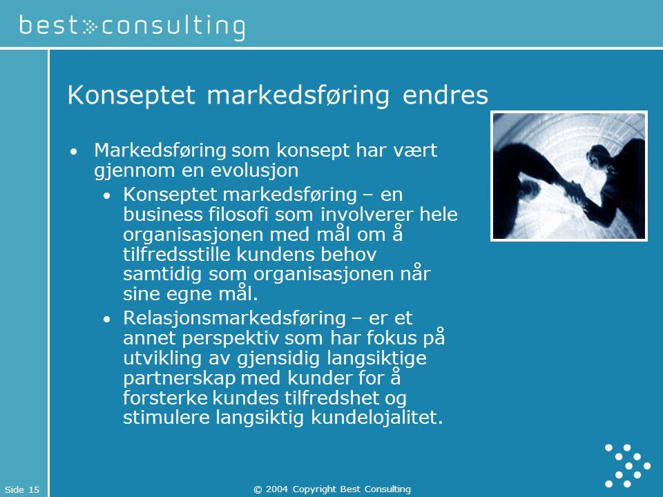 Side 15 © 2004 Copyright Best Consulting Konseptet markedsføring endres Markedsføring som konsept har vært gjennom en evolusjon Konseptet markedsførin