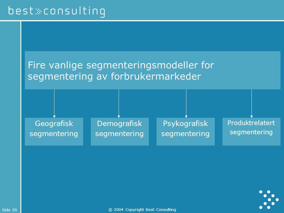 Side 20 © 2004 Copyright Best Consulting Fire vanlige segmenteringsmodeller for segmentering av forbrukermarkeder Geografisk segmentering Demografisk
